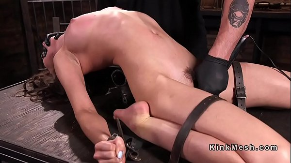 Gagged opened mouth slave cunt fucked