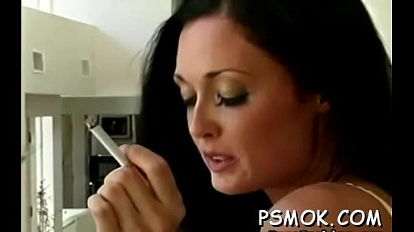 Hot chick smoking and sucking