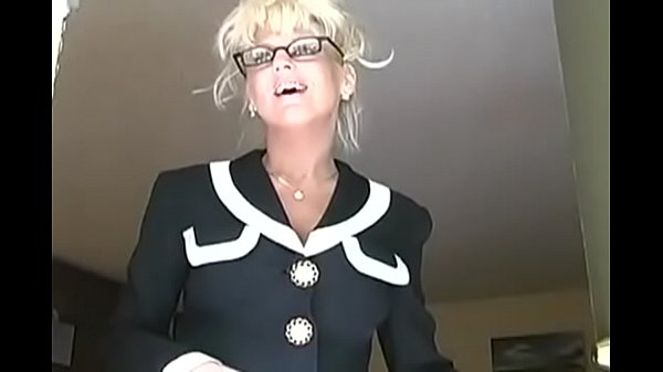 blonde mature french teacher Mrs. Vogue with glasses help student