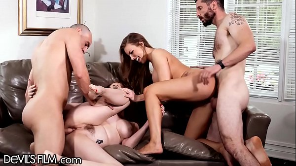DevilsFilm Neighborhood MILFs Tease Hubby's to Swingers Orgy!
