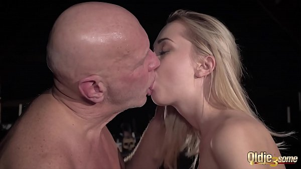 Slippery wet pussy and her girlfriend have sex with horny old guy