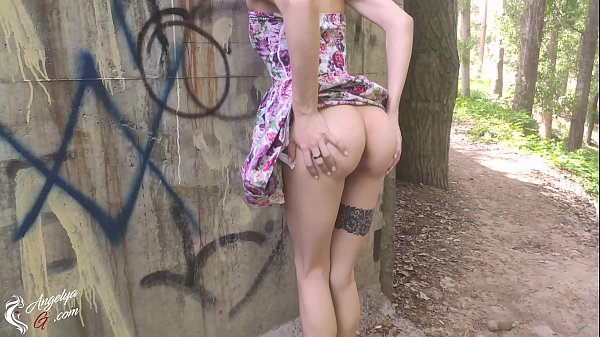 Sweet Babe in Cute Dress Sucking Dick Outdoor - Cum on Tits Thumb