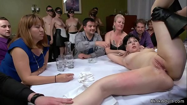Slave dp toyed at public dinner Thumb