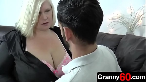 Grandma with big tits is trying hard to sell an insurance policy to a young grandson