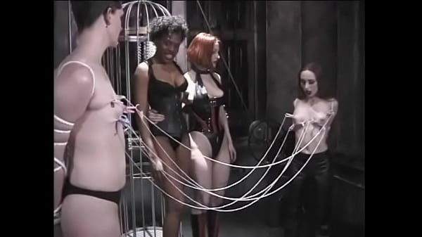 Cute lesbians have nipple clamps and humiliated by their experienced mistresses