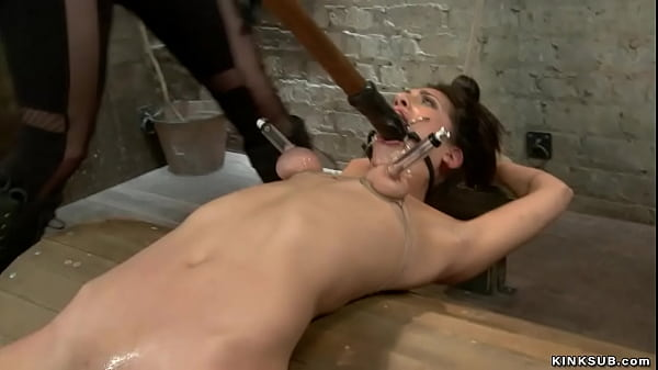 Lesbian sub pussy clamped and caned