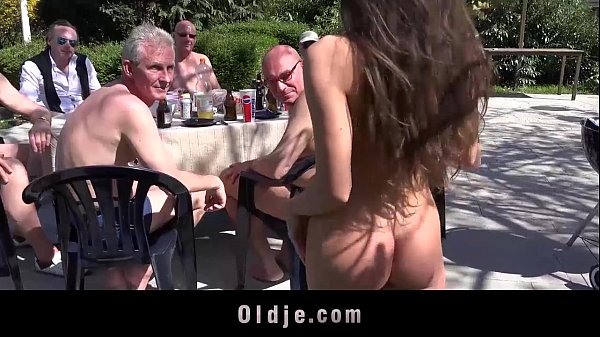 8 lucky old men gang bang Anita's tiny holes