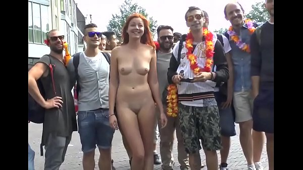 naked beautiful girl with group of men CMNF