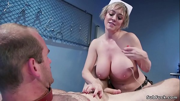 MILF nurse pegging strapped patient