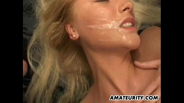 Blonde amateur girlfriend home gangbang with fa...