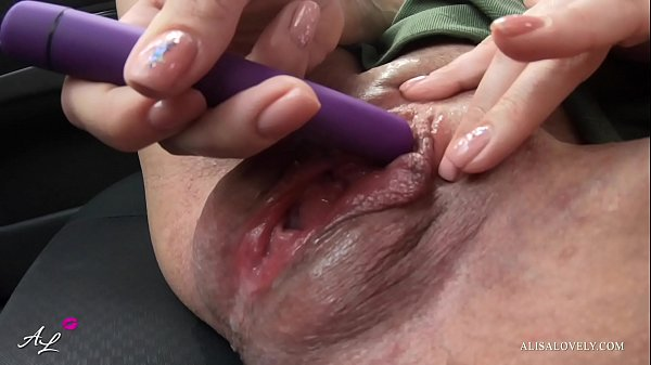 Stepsister in Stockings Dirty Seat in Car Masturbating and Orgasm from Vibrator