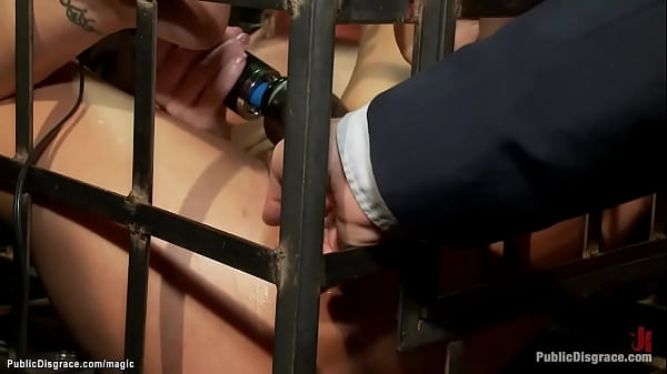 Blindfolded slaves bound in metal box Thumb