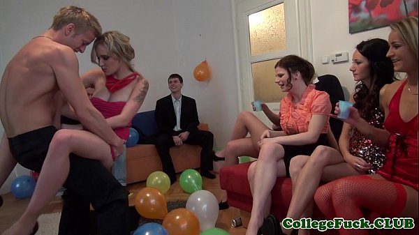 European college girl jizzed at bday party