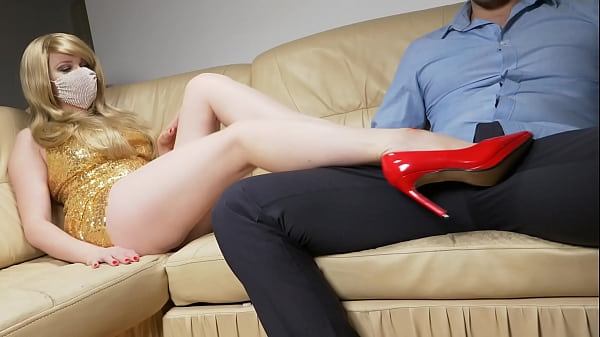 leggy busty blonde does a footjob! Guy cums on red patent leather shoes