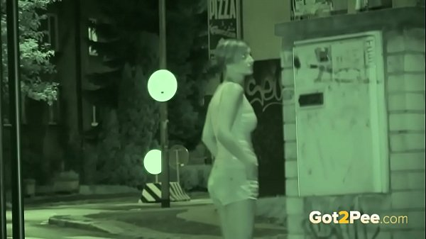 Public Pissing - Night vision catches a hot European peeing outside
