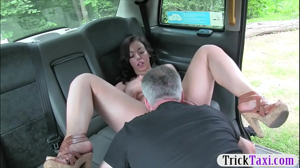 Hot babe gives a blowjob and railed by nasty fraud driver