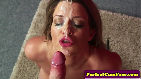 Bigtitted cumshot babe gets facial after bj