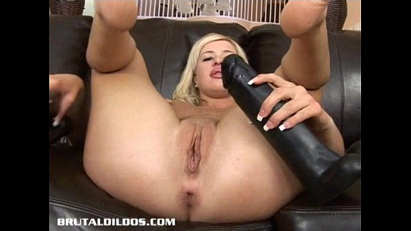 Busty blonde gapes her tight ass with a b. dildo