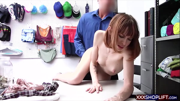 Tall and skinny shoplifter chick rough fucked
