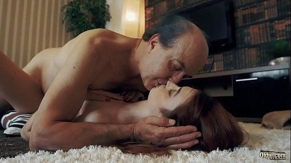 Innocent sweet Teen Swallows and Spits cum after Romantic Sex with Grandpa