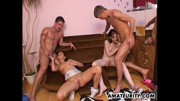 2 amateur girlfriends fucked by 2 guys ! Hot