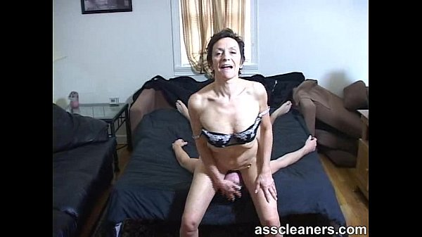 Licking off mistress' hemorrohoid... in her ass!
