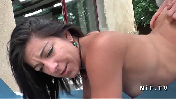 Gorgeous french brunette with small tits hard anal hammered in threeway