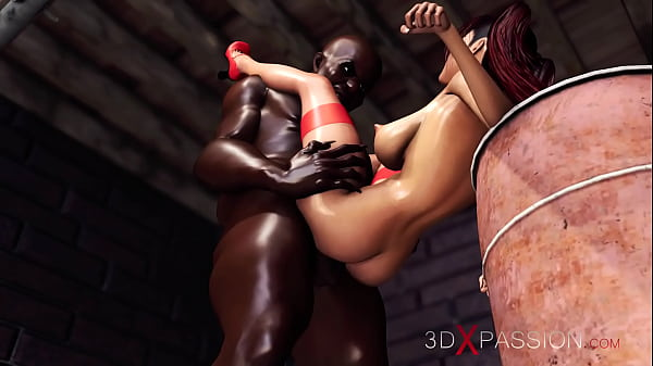 Horny red-haired girl gets fucked hard by a bla...