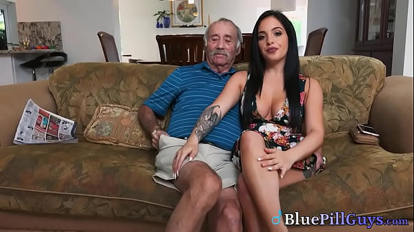 Beautiful Busty Babe Makes Old Timer's Wishes Come True