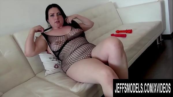 Passionate BBW Elisa Beth Uses Two Red Dildos in a Sexy Fishnet Bodysuit
