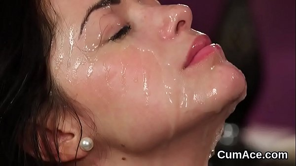 Naughty stunner gets cum load on her face swallowing all the jizz Thumb