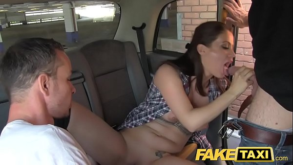 Fake Taxi Cab driver gets balls deep in backseat threesome action