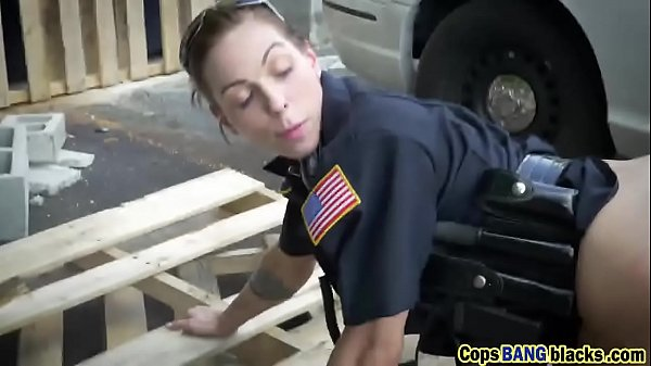 Two female cops fuck a black dude as his punishement