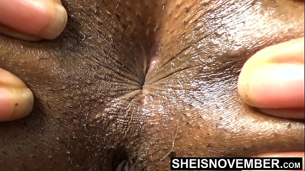 HD Sphincter Ass Hole Close Up Black Babe Deep Inside Butt Crack With Short Hairs , Skinny Msnovember Spreading Young Ass Cheeks Apart Winking Butthole , Laying Prone With Closed Legs And Thick Thighs HD Sheisnovember XXX
