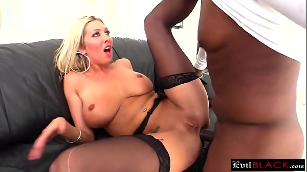 Busty blonde gets a huge black dick in her tight ass