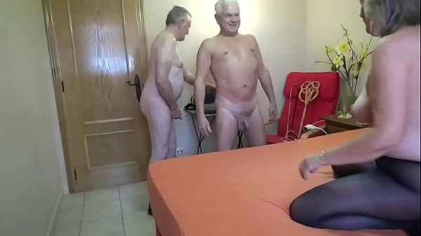 Mature with two horny men