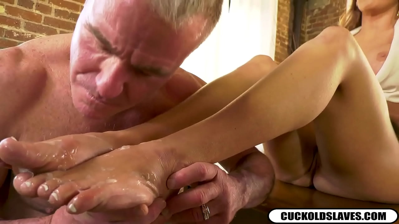 Cuckold cleans black monster cock cum off white wifes feet ...