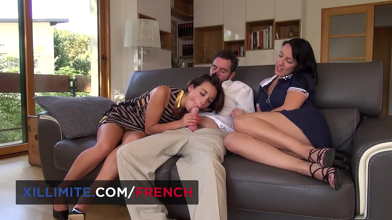Two sexy French brunettes for one lucky guy