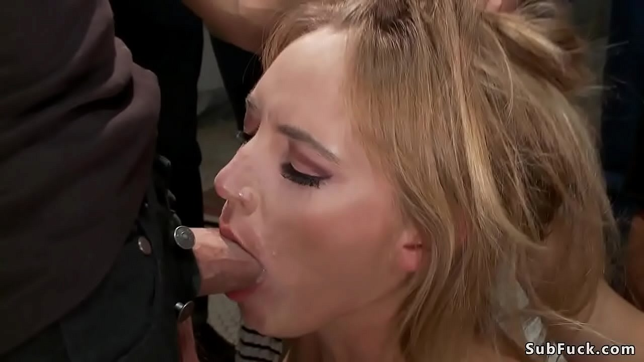 Small tits blonde is d. in public