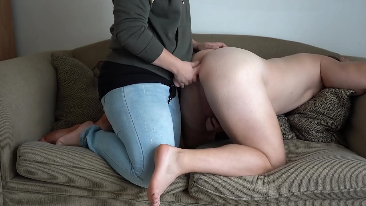 Pegging Strapon Fucking the Cum Out of Him! Prostate No Hands Cumshot