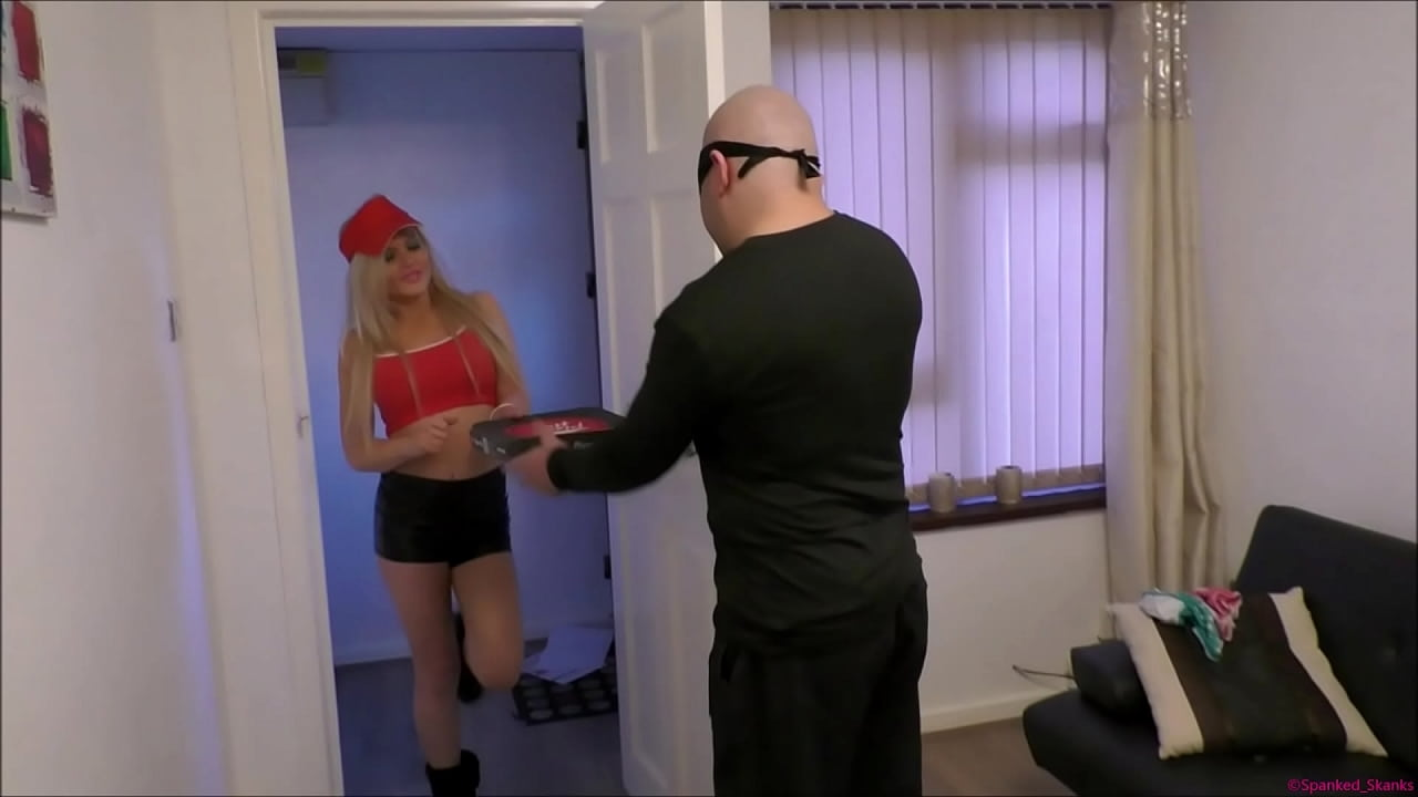 Bratty blonde pizza-delivery girl gets Spanked over a woman's knee   Tied-up using bondage tape   Then strapped in a nappy (diaper) to really humiliate her ~ As punishment for her slutty behaviour!