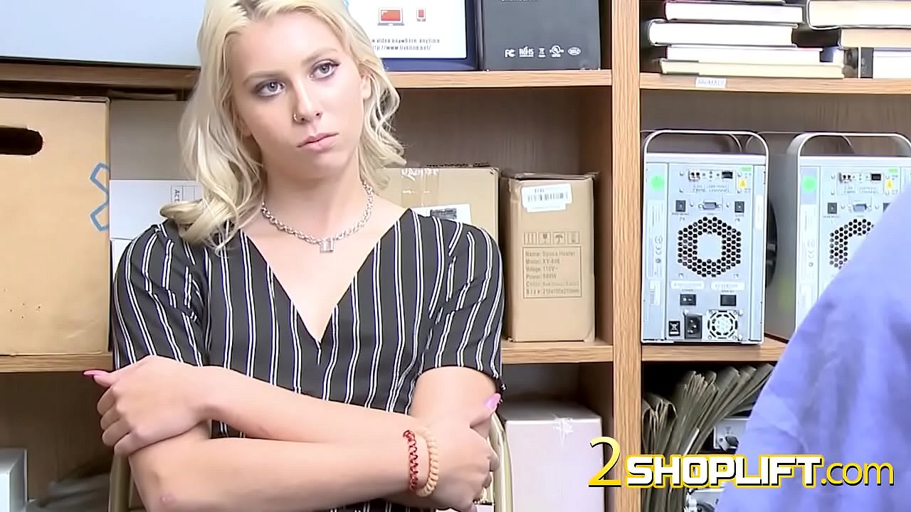 Blonde cutie is ready to fuck with this horny store officer.