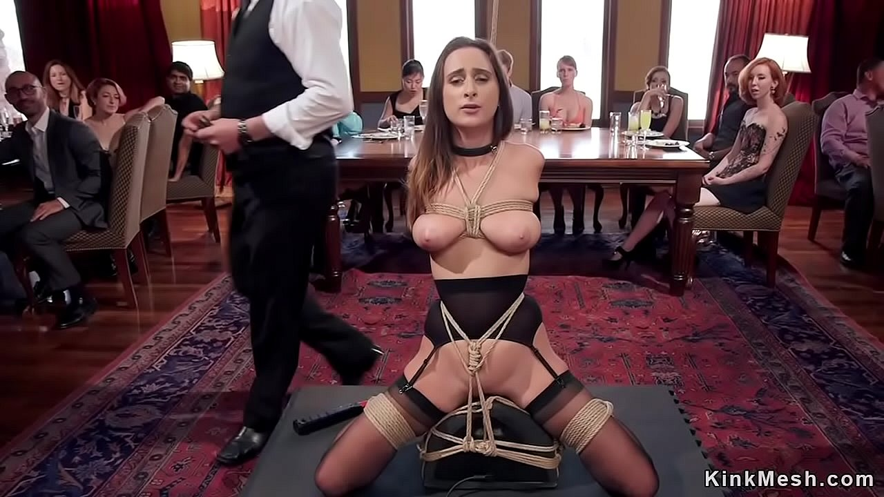 Busty slave banged in wooden stock