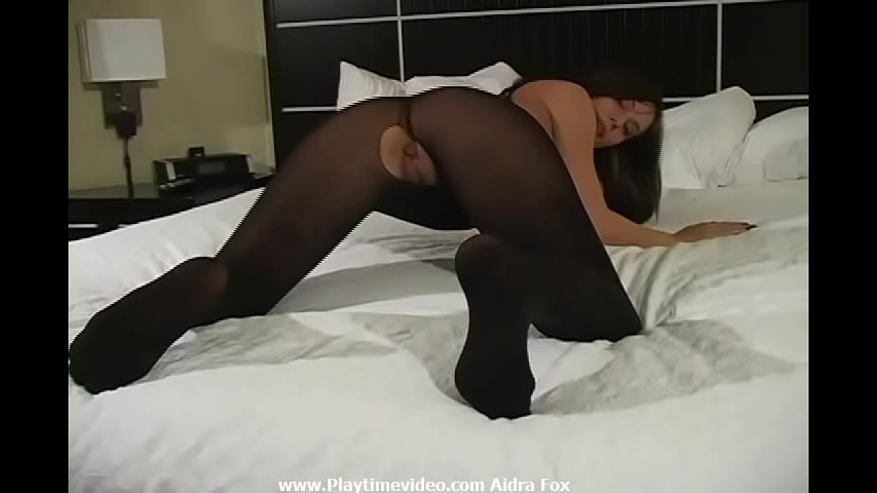 """Aidra Fox 18 Year Old Pure Sexual Energy Siren on Video Jerk Off Encouragement Black Nylon Bodystocking! """"You want to cum on my little pussy? Go ahead!"""""""