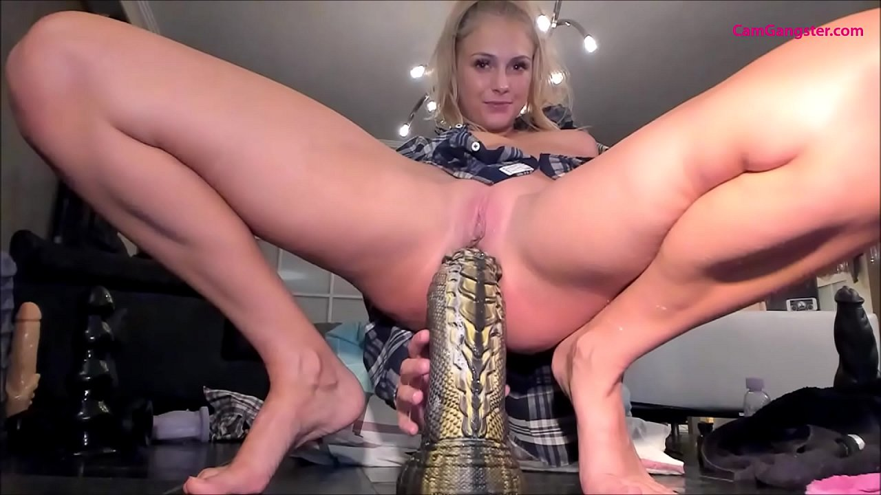 3D Anal Dildo sexy blonde wrecks asshole with huge dildos compilation