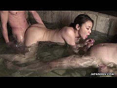 Never before fucked in a warm jacuzzi threesome