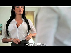 FantasyHD Girl with big tits' first day at work is erotic
