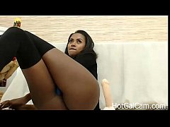 Ebony Milf with Bigtits Riding Dildo Part 1 - H...