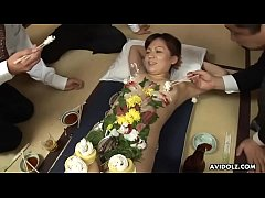 Old perverted businessman eat some sushi of hot chicks body