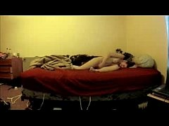 Great orgasm of my sister on bed. Hidden cam